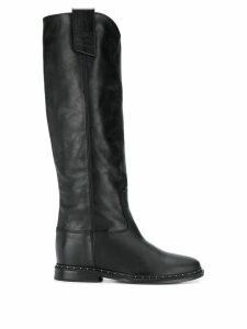 Via Roma 15 stud-embellished knee boots - Black