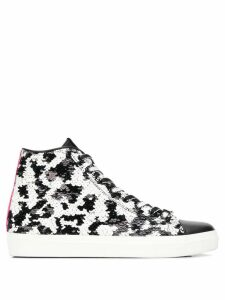 Leather Crown sequin hi-top sneakers - Black