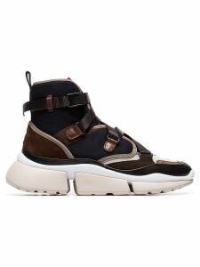 Chloé brown Sonnie chunky strap high top sneakers - Blue