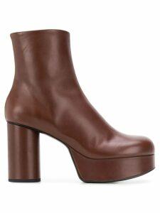 Jil Sander block heel boots - Brown
