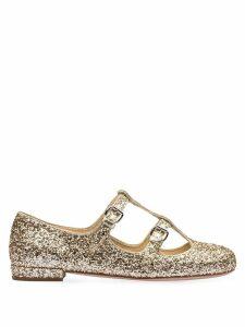 Miu Miu glitter buckled ballerinas - GOLD