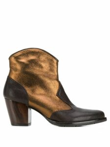 Chie Mihara metallic leather cowboy ankle boots - Brown