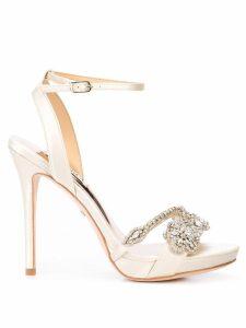 Badgley Mischka crystal-embellished stiletto pumps - White