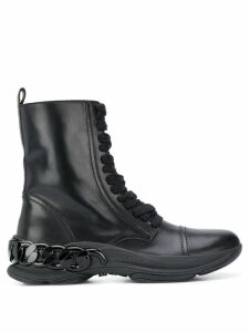 Casadei chain-link lace up boots - Black