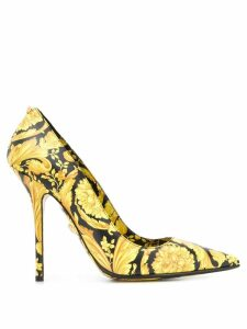 Versace Barocco print pumps - Yellow