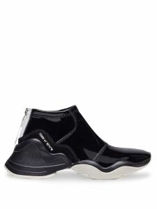 Fendi high-top glossy effect trainers - Black
