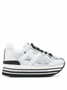 Hogan metallic leather sneakers - White