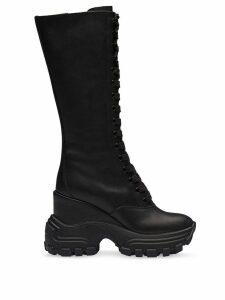 Miu Miu platform biker calf boots - Black