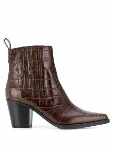 Ganni western crocodile-effect boots - Brown