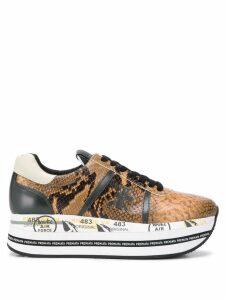 Premiata Beth reptile platform sneakers - NEUTRALS