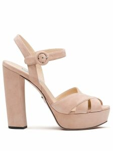 Prada crossover strappy sandals - Brown