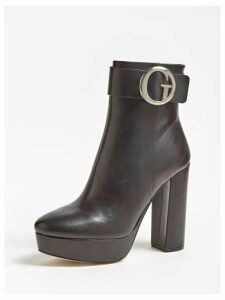 Guess Abrew Ankle Boot With Logo Buckle