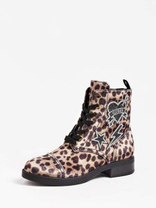 Guess Biela Animalier Combat Boot With Logo