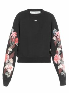 Off-White Flowers Crop Sweatshirt