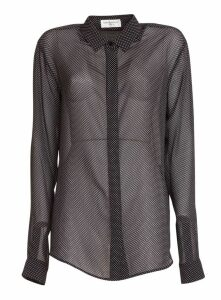 Saint Laurent Sheer Spotted Blouse