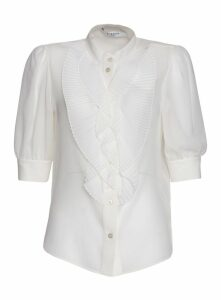 Givenchy Shirt With Pleated Ruffles In Silk In White