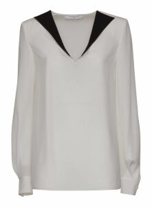 Givenchy Crepe De Chine Blouse With Contrast Lapel