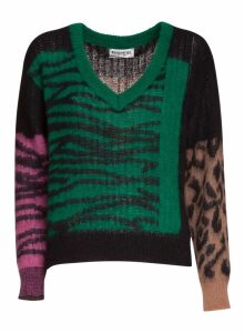 Essentiel Multicoloured Leopard And Zebra Print V-neck Knitted Sweater