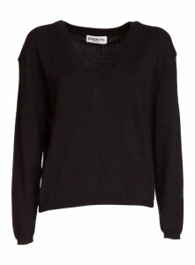 Essentiel Black Lurex Knitted V-neck Sweater