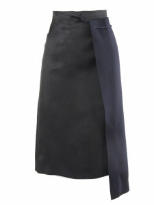 Maison Margiela Black And Navy Blue Reconstructed Pencil Skirt