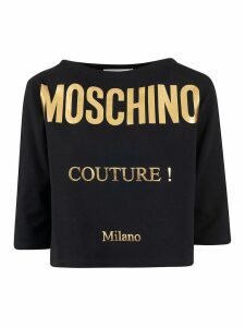 Moschino Couture! Logo Print Boat Neck T-shirt