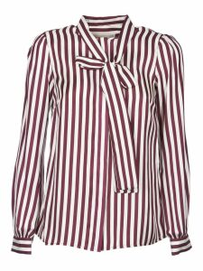 Michael Kors White And Purple Striped Shirt With Bow