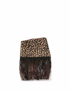 The Volon Dia leopard fringe clutch - Brown