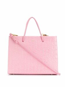 Medea small crocodile-effect tote bag - PINK