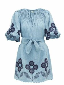 Innika Choo - Hans Ufmafrök Smocked Linen Mini Dress - Womens - Denim