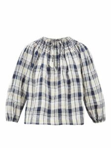 Innika Choo - Hope Filhorts Smocked Gingham Blouse - Womens - Navy Multi