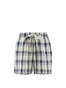 Innika Choo - Wilma Scalloped-cuff Checked Linen Shorts - Womens - Navy Multi