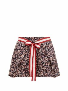 The Upside - Aria Floral Wrap-front Linen-blend Shorts - Womens - Blue Multi