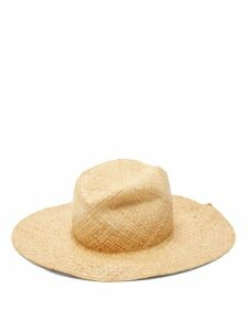 Lola Hats - Commando Pleated Raffia Hat - Womens - Beige White