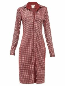 Bottega Veneta - Mirror Embellished Satin Jersey Shirtdress - Womens - Burgundy