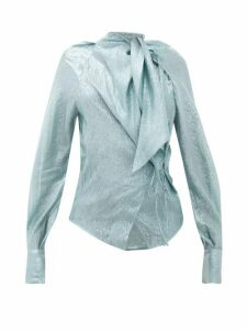 Petar Petrov - Betsey Tie-neck Silk-blend Lamé Blouse - Womens - Blue