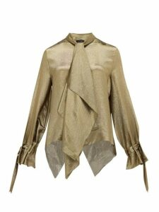 Roland Mouret - Royce Pussy-bow Silk-blend Lamé Blouse - Womens - Gold