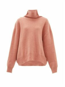 Raey - Cropped Displaced Sleeve Roll Neck Wool Sweater - Womens - Pink