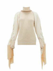 Hillier Bartley - Fringed Sleeve Roll Neck Cashmere Sweater - Womens - Cream