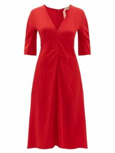 No. 21 - Gathered Crepe De Chine Midi Dress - Womens - Red