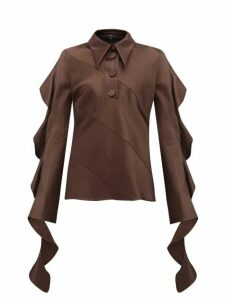 Ellery - Obsessed Panelled Ruffled Satin Blouse - Womens - Dark Brown