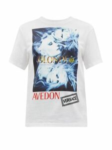 Versace - Logo-print Cotton-jersey T-shirt - Womens - White Multi