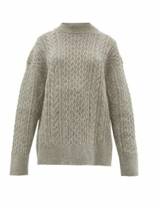 Jil Sander - Shetland Wool Cable-knit Sweater - Womens - Light Grey