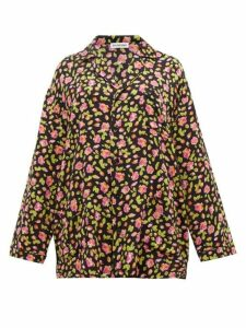 Balenciaga - Oversized Rose-jacquard Silk Shirt - Womens - Black Multi