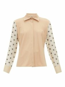 Fendi - Logo Embroidered Organza Sleeve Shirt - Womens - Beige