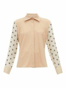 Fendi - Logo-embroidered Organza-sleeve Shirt - Womens - Beige