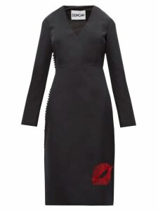 Duncan - Lip Embroidered Silk Faille Dress - Womens - Black