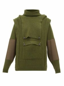Stella Mccartney - Hooded Cargo-pocket Wool Sweater - Womens - Khaki