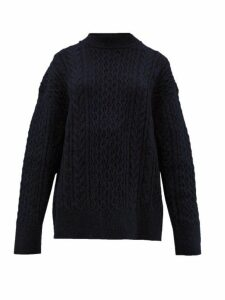 Jil Sander - Shetland Wool Cable Knit Sweater - Womens - Navy
