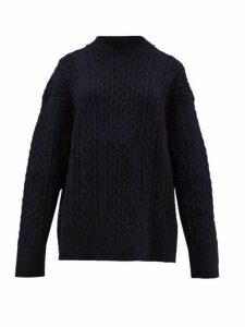 Jil Sander - Shetland Wool Cable-knit Sweater - Womens - Navy