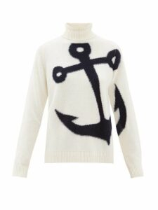 No. 21 - Anchor Jacquard Roll Neck Wool Sweater - Womens - Ivory